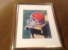 "Matted And Framed Cleveland Browns Helmet Art Print - Phil Ferguson 15X12"" Nfl"