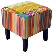 Shabby Chic Carré Pouf tabouret / BOIS PIEDS - Multicolore och3535