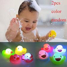 2 Pcs Color Random Flashing Rubber Duck LED Light Color Changing Lamp Bath Toy