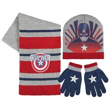 Kinder Winter Set 3 tlg. Mütze Schal Handschuhe Marvel Avengers Captain America
