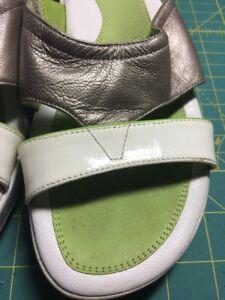 Cole Haan Leather Sandals Platform Wedge 8 1/2B CrissCross Green White
