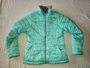 The North Face Girls Sz M 10-12 Mossbud Swirl Jacket Reversible GRAY/AQUA