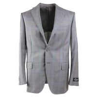 NWT $2395 BELVEST Regular-Fit Gray Layered Check Wool Sport Coat 42R