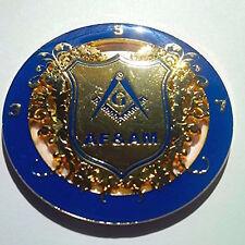 Masonic  AF&AM Blue And Gold Auto Rear Mason Emblem Blue Lodge  Car Badge