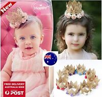 Girls Kids Children Baby Princess Party crochet lace Crown Tiara Hair Head Band