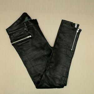 RTA Road To Awe Hip Zip Lambskin Leather Skinny Pants Women's Size 28 Black