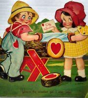 Sawing Log Large Germany Stand Up Vintage Mechanical Valentine Day Card