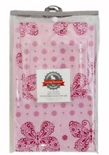 LIVING TEXTILES 2PC COT FITTED SHEET & PILLOWCASE SET IN BUTTERFLIES. PINK. NEW.