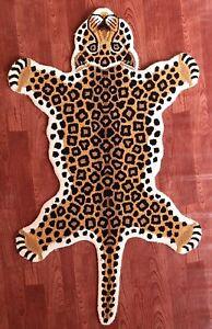 Leopard Rugs Yellow Skin Shape 3' x 5' Handmade Tufted 100% woolen Rugs