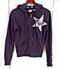 ROXY QUICKSILVER S Zip Front Hoodie Sweatshirt Black Embroidered Womens Hooded