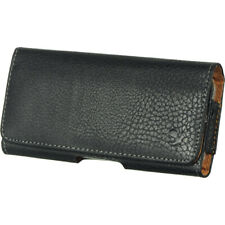 LEATHER BELT CLIP HOLSTER HORIZONTAL POUCH FOR iPHONE SE 5 5S 5C WITH CASE ON