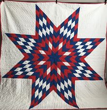 """Lone Star Vintage Quilt Red Blue 84"""" X 82"""" Hand Quilted"""