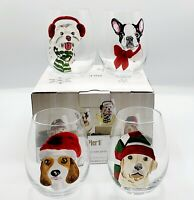 Pier 1 Stemless Wine Glasses Christmas Dogs Park Avenue Puppies SET OF 4 ~ NEW ~