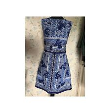 BLUE/NAVY/WHITE floral prenium dress, from new look, Size 14