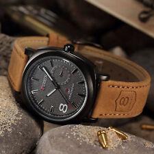 CURREN Men's Leather Strap Sport Military Army Quartz Wrist Watch Luxury New @UK