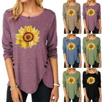 Women Floral Sunflower T Shirt Long Sleeve Crew Neck Tops Loose Tunic Tee Blouse