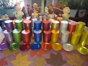 VINTAGE PERMA HUES LOT OF 26 ALUMINUM LARGE & SMALL TUMBLERS CUPS AND COASTERS