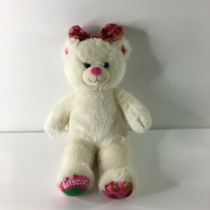 """Build A Bear Girl Scouts Cookie 15"""" Plush Cream Pink Bow Stuffed Animal"""