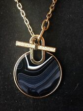 Michael Kors Gold Tone Black Agate Disc Pendant Chain Necklace NWT  $185