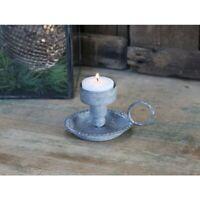 Chic Antique Kammerleuchter Kerzenständer Grau  Metall  Shabby Chic Vintage