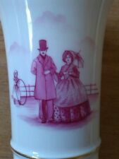 pink & White vase Dutch/ Germany porcelain by Gee 1674; Victorian lady & gent