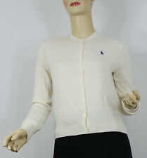 Ralph Lauren Polo Cardigan Sweater Womens Small Cream Blue Pony Cotton Wool New
