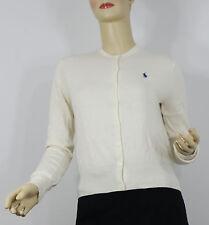 Ralph Lauren Polo Cardigan Sweater Womens Small Cream Blue Pony Cotton Wool New