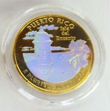 Peseta P TORNASOL Baño Oro PUERTO RICO GOLD Quarter w HOLOGRAM Buy 3 Get 1 FREE