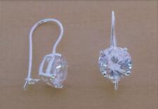 925 Sterling Silver 8mm Round C Zirconia Crystal Tear Drop Sleeper Hoop Earrings