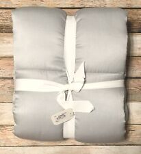 Pottery Barn Portia King Pillow Sham Silk Gray Silver Soft Box Quilted New