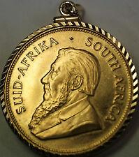 1975 South Africa Krugerrand 1 Ozt Fine BU Gold Coin in a Serrated 14 Kt Bezel
