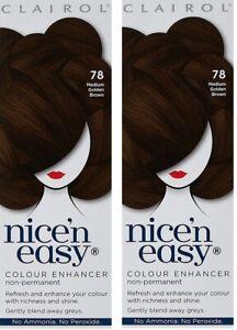 2x CLAIROL Nice'n Easy Enhancer 78 MEDIUM Golden BROWN Non-Permanent NO Peroxide