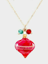 Christmas Theme Watercolor Painting Pendant Bead Necklace (Ornament)