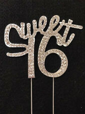 Rhinestone Silver Crystal Covered SWEET 16 16th Birthday Number Cake Topper
