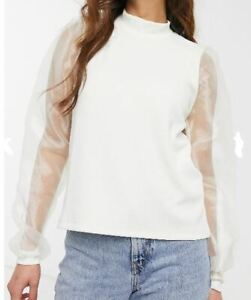NEW! SALE! ASOS Pieces high neck top with organza sleeves in white M Medium