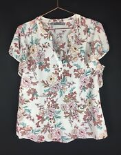 Katies Size 12 Women's Party Casual V-Neck Top Blouses Multi-coloured Floral