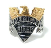 American Biker Ring Stainless Surgical Steel PVD Gold