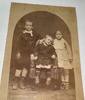Rare Antique Victorian American Humphrey Family Children Illinois Cabinet Photo!