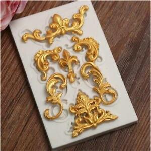 Vintage Silicone Fondant Mould Relief Baroque Cake Lace Flower Border Sugar Mold
