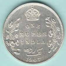 BRITISH INDIA 1907 KING EDWARD VII ONE RUPEE SILVER COIN NEAR ABOUT UNC