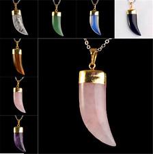 Fashion Horn Necklace Natural Crystal Quartz Stone Gemstone Healing Pendant