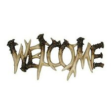 "12"" Welcome Sign Plaque Deer Antler Theme Polyresin Door Rustic Decor Wall Art"