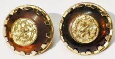 boucles clips bijou vintage ronde gravé dragon couleur or effet ambre * 5147