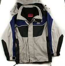 Helly Hansen Men Size M Gray Black Blue Hooded Water Resistant Breathable Jacket