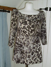 Alex & Co animal print 3/4 sleeve top size Medium