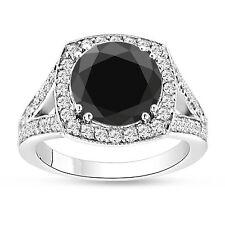 4.19 CARAT ENHANCED BLACK DIAMOND ENGAGEMENT RING 14K WHITE GOLD HALO HUGE