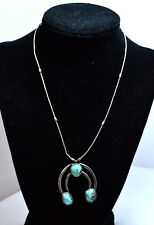 Vntg Navajo Sterling Liquid Silver Southwest Turquoise Squash Blossom Necklace !