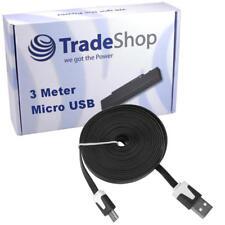 3 Meter USB Kabel Flachkabel Ladekabel Extralang für Wiko Bloom