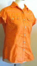 CRUEL Women's Medium PEARL SNAP Shirt Orange Polka Dots Short Sleeve Western top