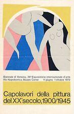 Art biennale de Venise plaquette 1 feuille 1972 exposition liste artistes